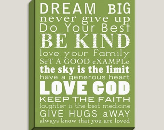 Inspirational, Dream Big, Be Kind, Love God, Keep The Faith, Single Wrapped Canvas, Art Print, Kids Rooms, Quotes, Positive, Ready to Hang