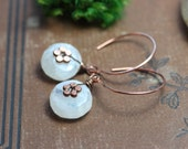 Moonstone Earrings White Gemstone Earrings Copper Hoop Earrings Rustic Jewelry