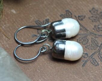White Pearl Earrings Bullet Capped Dark Antiqued Gunmetal Silver Earrings Rustic Jewelry