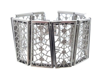 Vintage Filigree Bracelet, Wide Forget Me Knot, Designer Judy Lee Fine Vintage Jewelry, Vintage Jewellery