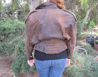 North Beach Leather * Vintage Bomber Jacket * Classic 80's *  Michael Hoban Excellent Condition * Brown Leather * XS S Small 32 34 36 Coat