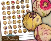Vintage Mix Collage Sheet - Bottle Cap Collage Sheet - Digital Collage Sheet Images for Bottle Cap Pendants Bezels Magnets Calico Collage