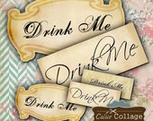 Drink Me Labels Digital Collage Sheet, Alice in Wonderland, Tags, Gift Tags, Mini Gift Cards, Decoupage Paper, Digital Paper, Drink Me Paper