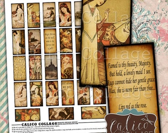 Snow White, Collage Sheet, Printable, Domino Images, 1x2 Collage Sheet, 1x2 Domino Images, Printable Ephemera, CalicoCollage