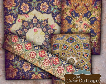 Mandala Digital Collage Sheet, Arabesque, Moroccan, Printable, ,Calico Collage, Printable Sheets, Journaling, Printable Images