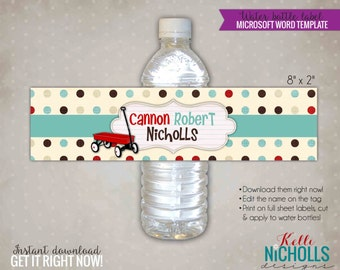 Little Red Wagon Baby Shower Water Bottle Label Template, Radio Flyer Shower, Red Wagon Party Decoration, Instant Download #S109