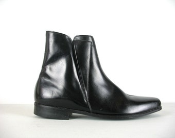 Vintage 60s Mens Black Beatle Boots 9 Bata Executive