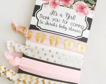 Baby Girl Shower Favors, Baby Girl Shower, Hair Tie Favors, Baby Shower  Favors
