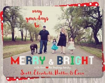 Christmas Card : Merry & Bright Christmas Custom Photo Holiday Card Printable