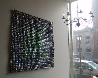 Green Fades to Black - Bottle Cap Tapestry