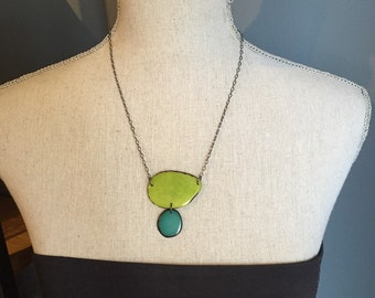 Lime green and aqua necklace