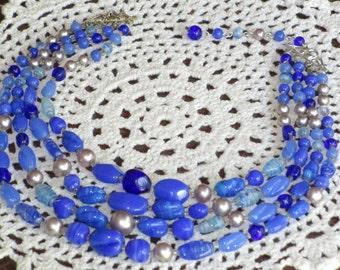 Blue Glass Bead Choker Necklace Multi Strand Retro Vintage Jewelry Creationarts