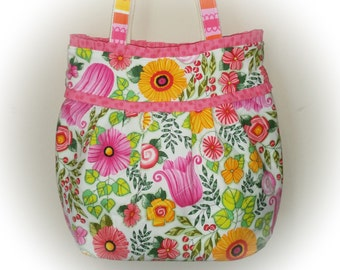 FREE Shipping USA Canada - J Castle Designer Jacqui Bag - Clothworks Belle Fleur Designer Fabric Spring Floral - (Ready to Ship)