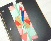 SUMMER SALE - Geometric gold shimmer elastic banded planner pencil pouch