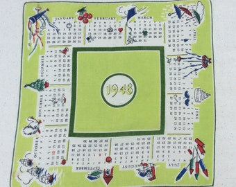 Vintage 1948 Calendar Hankie Every Month and Its Holidays