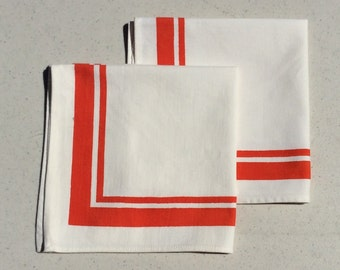 Vintage Napkins Pair of Orange Stripe