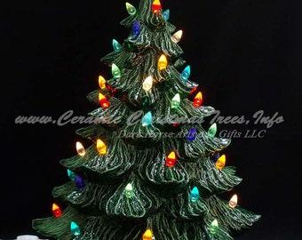 vintage style ceramic christmas tree w music box 19 in - Ceramic Christmas Lights