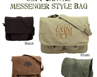 Monogrammed Canvas Messenger Bag - Vintage Paratrooper  - Personalized