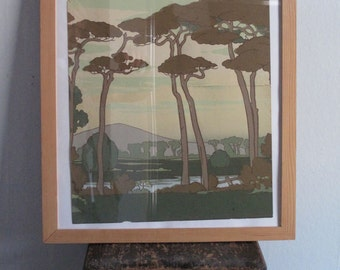 c.1900 Art Nouveau Wall Paper Framed Hanging - Trees Landscape
