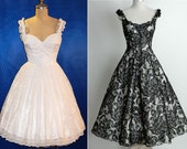 All Sizes Custom Off-shoulder Satin & Lace Gorgeous 1950s Reproduction Dress... Available in Black or White Lace...