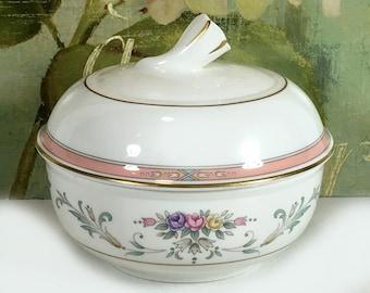 "Vintage Lidded Sugar Bowl, Mikasa, ""Spring Crest"" Pattern, Made in Thailand"