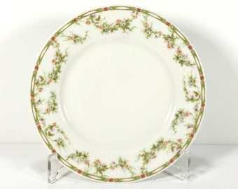 Three Antique Theodore Haviland Dessert Plates, Delicate Border, Pink and Green Rose Swags