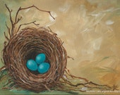 Nest Painting Three Robins Eggs in a Nest