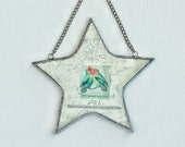 never enough love - antiqued mirror star collage with chain for hanging on wall or window