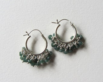 Dark Green Aventurine Hoop Earrings