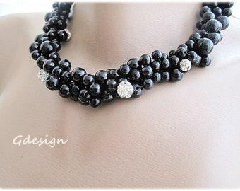 Handmade necklace,Wedding  Bridal  black Glass Pearl necklace, rhinestone balls. black pearl jewelry