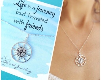 Compass necklace, Friendship necklace, graduation gift, sorority sisters, best friend gift, bff gift, nautical jewelry, true north, otis b