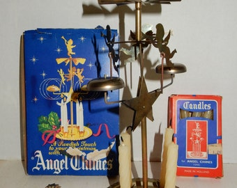 Vintage Swedish Christmas Angel Party Chimes With Candles Made in Sweden Horse Clown