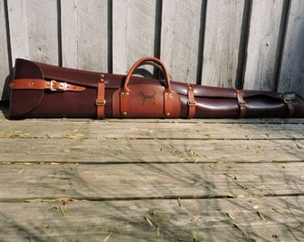 Water Buffalo Long Gun Case with Lambswool Lining /  Leather Gun Case / Handcrafted