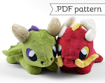 Eastern & Western Laying Dragon Plush .pdf Sewing Pattern
