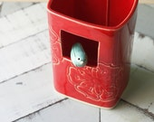 Porcelain window Vase with bird red and teal