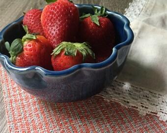 small dark blue flower berry bowl, porcelain