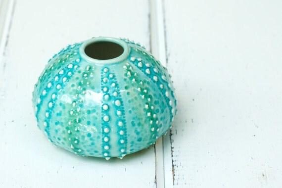 aqua urchin bud vase