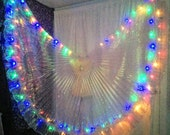 RAINBOW Butterfly LED isis wings red yellow green blue lights on white iridescent fabric