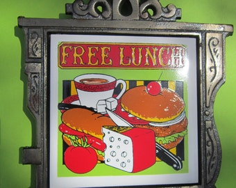 "Vintage ""Free Lunch"" Tile Trivet Wall Plaque Hot Dog Sandwich Coffee"