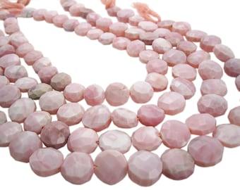 Pink Opal Beads, Pink Peruvian Opal, Peruvian Pink Opal, Faceted Coin, SKU 4014A