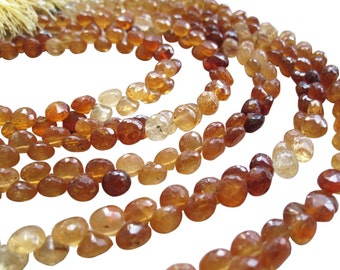 Hessonite Beads, Hessonite Garnet Beads Briolettes, Luxe AAA, Onion Briolettes, 5mm onion, SKU 1648