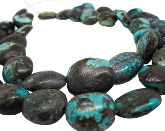Turquoise Nugget, Turquoise Beads, Green Blue Turquoise, Pebbles, December Birthstone, SKU 4547A