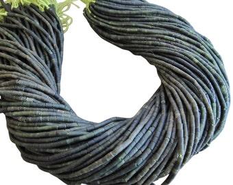 Green Jade Beads, Green Jade Heishi, 3mm Smooth Heishi, Tiny Cylinders, SKU 3432A