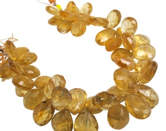 Citrine Briolette, Faceted Pear, November Birthstone, Citrine Beads, SKU 4866A