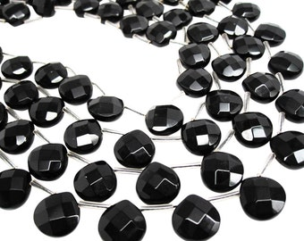 Black Onyx Beads, Faceted Briolettes, 13mm, Luxe AAA, 13mm Briolettes, SKU 4028A
