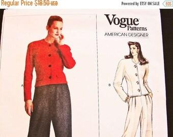 SALE 25% Off 1980s Vogue Pattern Ralph Lauren Short Jacket, Wide Leg Pants Pattern Vogue Designer Pattern Misses size 12 14 UNCUT