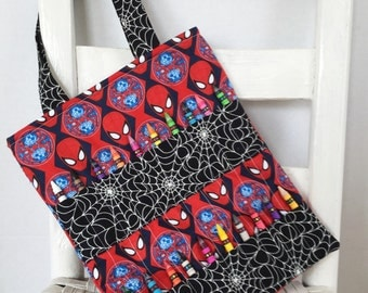 Glow in the Dark Spiderman Crayon Bag Coloring Tote Boys Birthday Gift Superhero Marvel Comics Quiet Bag Art Wallet