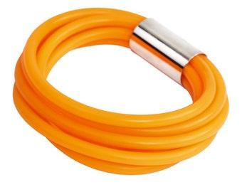 orange bracelet, tangerine orange rubber wristband, rubber bangle, urban jewelry, unique design