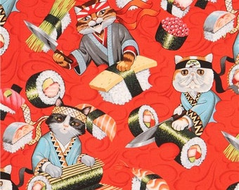 211245 red Alexander Henry fabric colorful cat sushi food Rockin Rolls