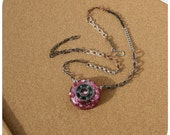 Roller Derby Bearing Necklace - hand cast resin pendant with stars and glitter